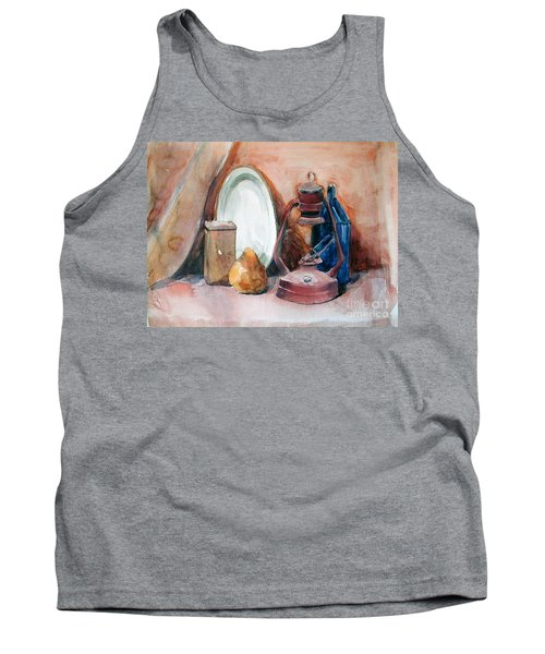 Watercolor Still Life With Rustic, Old Miners Lamp Tank Top