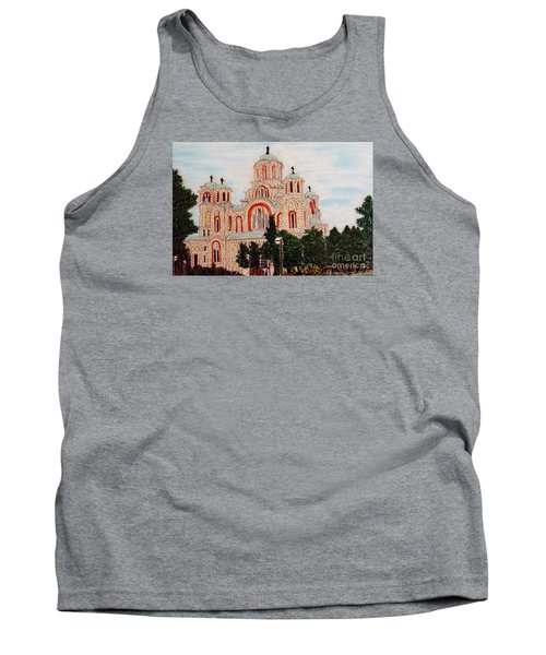 Tank Top featuring the painting St.marko Church Belgrade by Jasna Gopic