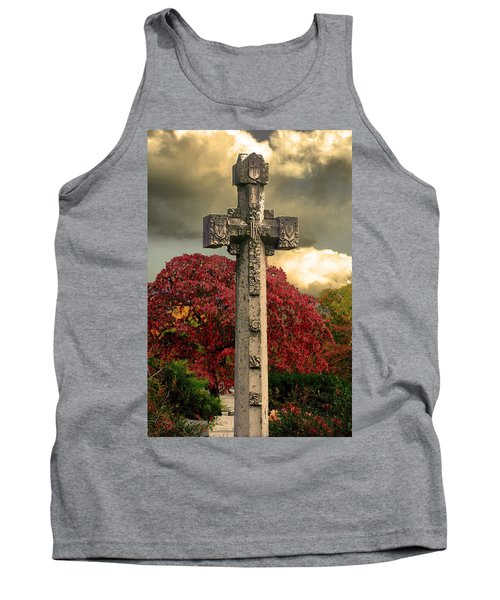 Tank Top featuring the photograph Stone Cross In Fall Garden by Lesa Fine