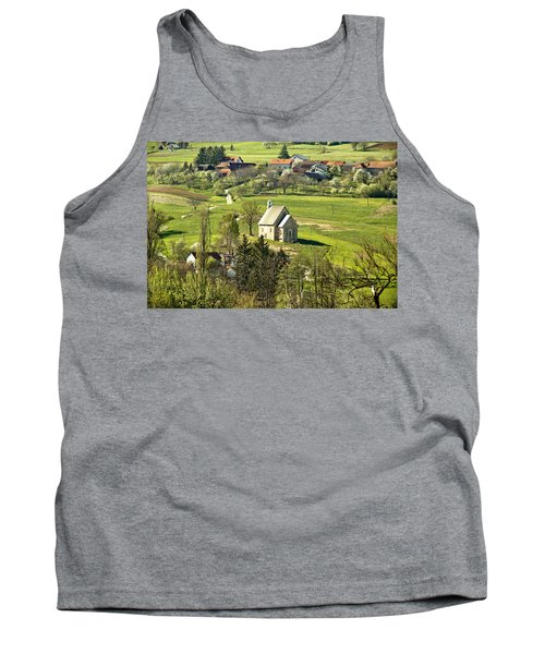 Stone Made Church In Green Nature Tank Top by Brch Photography