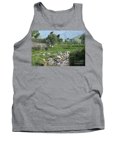 Stream Trees House And Mountains Swat Valley Pakistan Tank Top by Imran Ahmed
