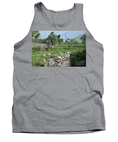 Stream Trees House And Mountains Swat Valley Pakistan Tank Top