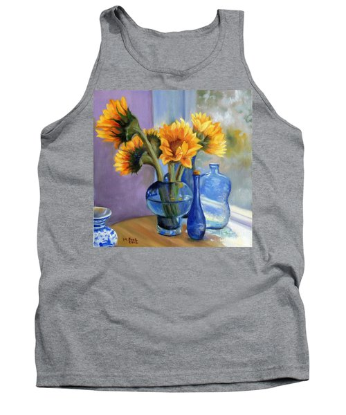 Sunflowers And Blue Bottles Tank Top