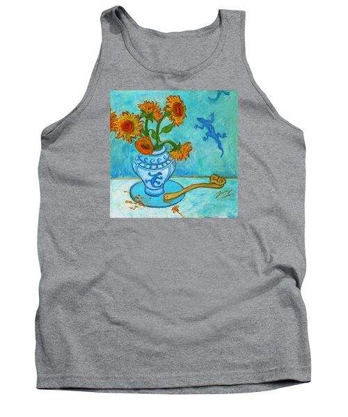 Tank Top featuring the painting Sunflowers And Lizards by Xueling Zou