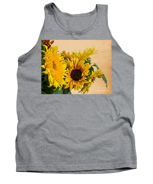 Sunflowers On Old Paper Background Art Prints Tank Top