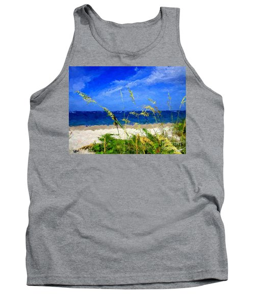 Tank Top featuring the digital art Sunlit Beachgrass by Anthony Fishburne