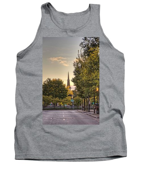 Tank Top featuring the photograph Sunrise At The End Of The Street by Daniel Sheldon