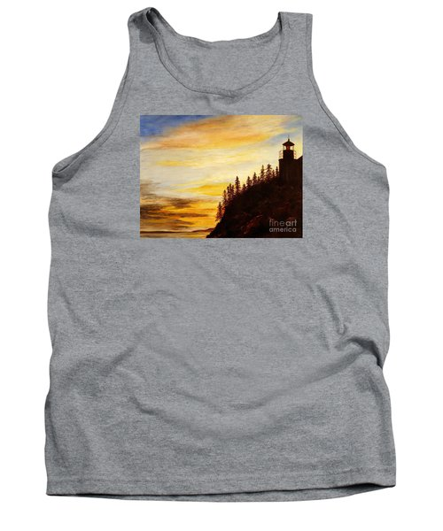 Tank Top featuring the painting Sunset At Bass Harbor by Lee Piper