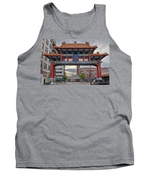 Tank Top featuring the photograph Sunset At Chinatown Gate In Seattle Washington by JPLDesigns