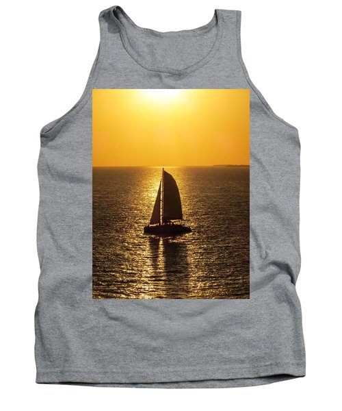 Tank Top featuring the photograph Sunset Sail by Jennifer Wheatley Wolf