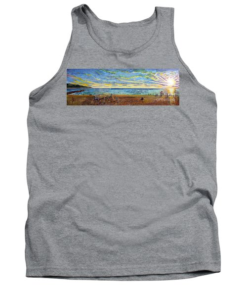 Tank Top featuring the painting Sunset Volleyball At Old Silver Beach by Rita Brown