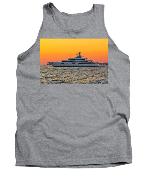 Superyacht On Yellow Sunset View Tank Top by Brch Photography