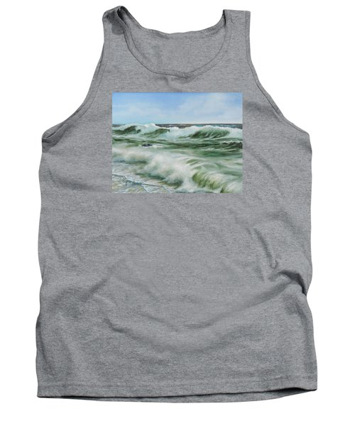 Tank Top featuring the painting Surf At Castlerock by Barry Williamson