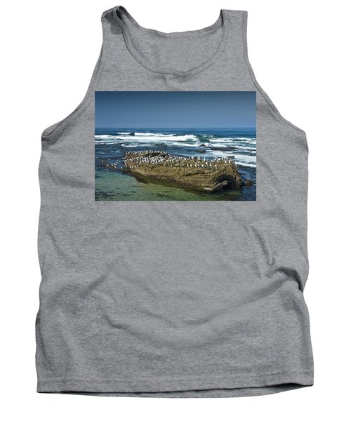 Surf Waves At La Jolla California With Gulls Perched On A Large Rock No. 0194 Tank Top by Randall Nyhof