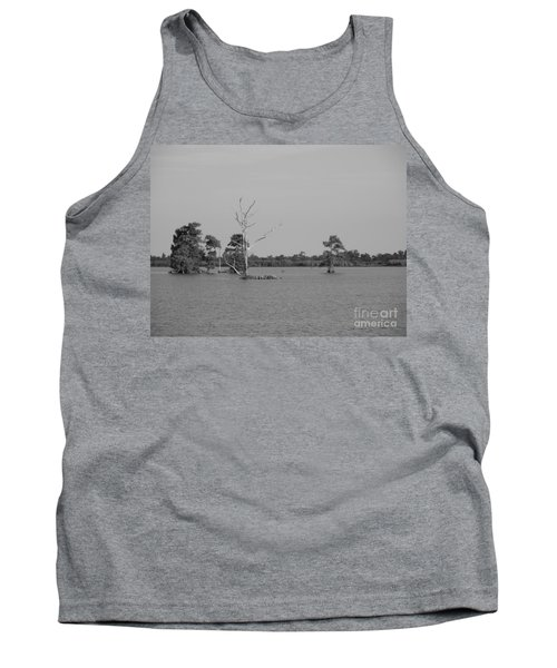 Tank Top featuring the photograph Swamp Cypress Trees Black And White by Joseph Baril