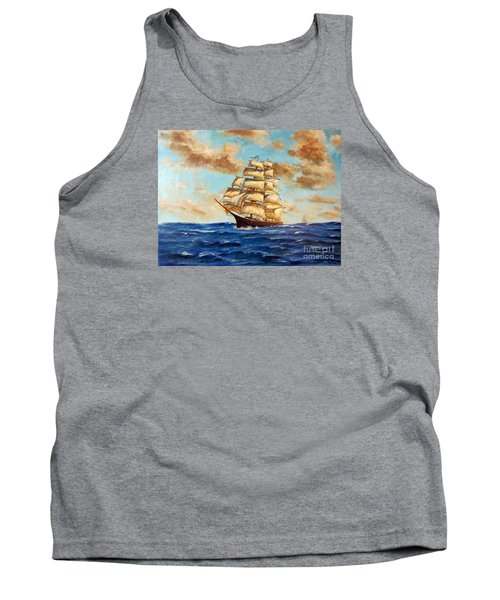 Tall Ship On The South Sea Tank Top