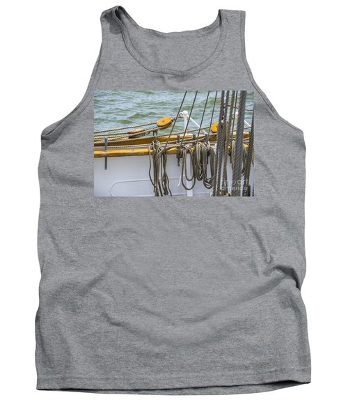 Tank Top featuring the photograph Tall Ship Rigging by Dale Powell