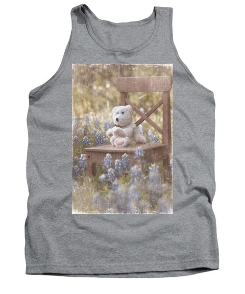 Teddy Bear And Texas Bluebonnets Tank Top