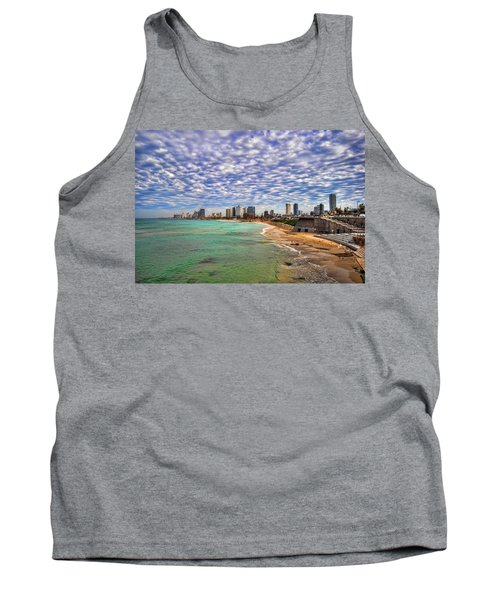 Tank Top featuring the photograph Tel Aviv Turquoise Sea At Springtime by Ron Shoshani