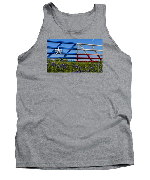 Texas Flag Painted Gate With Blue Bonnets Tank Top