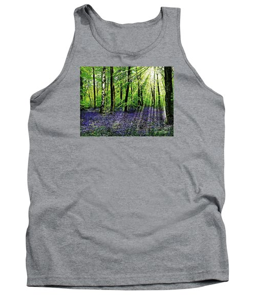 Tank Top featuring the mixed media The Bluebell Woods by Morag Bates