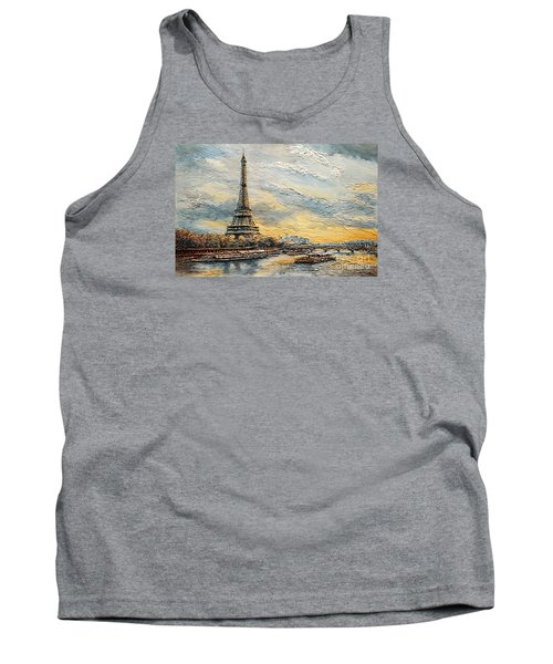 The Eiffel Tower- From The River Seine Tank Top by Joey Agbayani