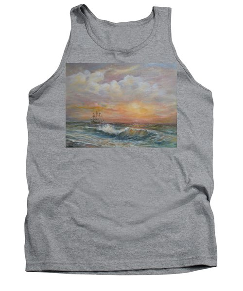 Tank Top featuring the painting Sunlit  Frigate by Luczay