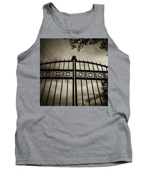 Tank Top featuring the photograph The Gate In Sepia by Steven Milner