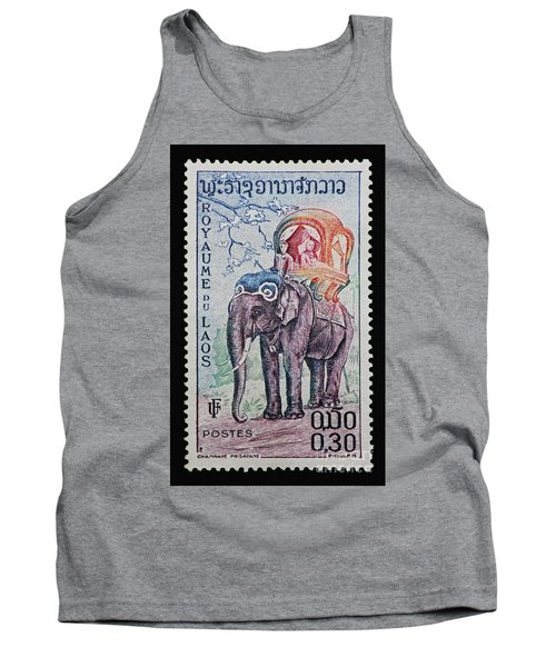 Tank Top featuring the photograph The King's Elephant Vintage Postage Stamp Print by Andy Prendy