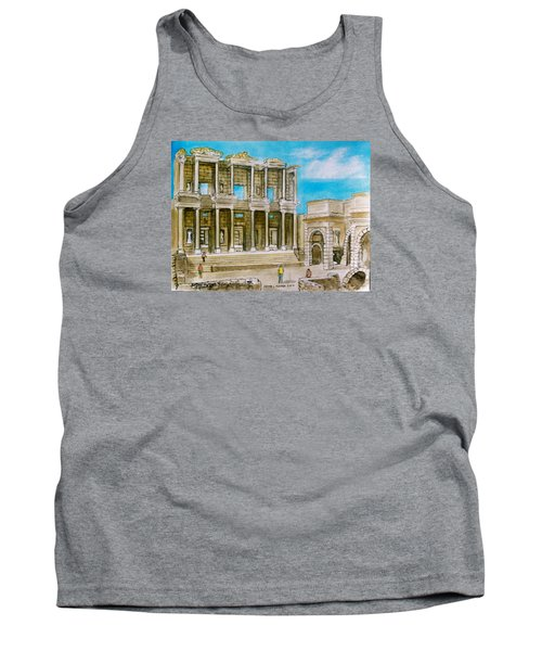 The Library At Ephesus Turkey Tank Top by Frank Hunter