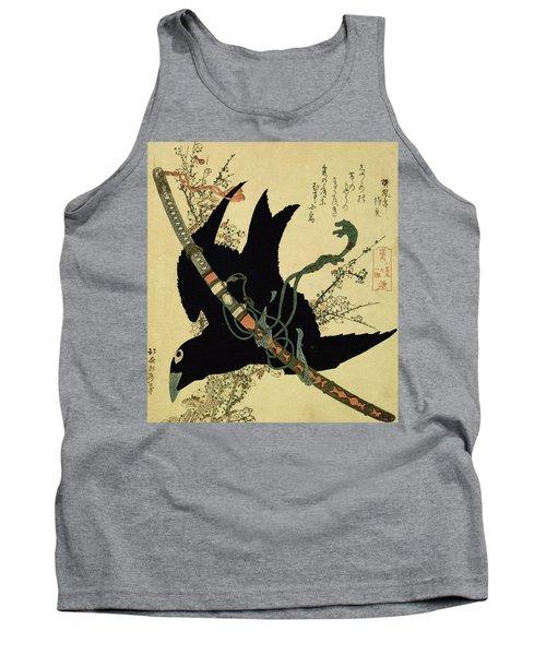 The Little Raven With The Minamoto Clan Sword Tank Top by Katsushika Hokusai