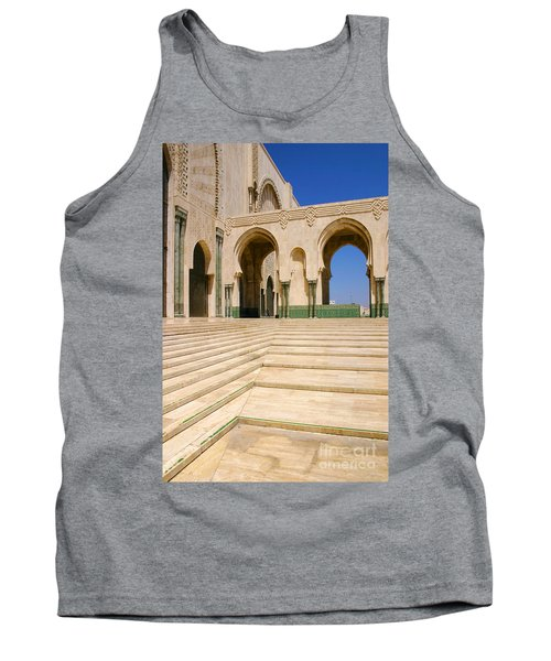 Tank Top featuring the photograph The Massive Colonnades Leading To The Hassan II Mosque Sour Jdid Casablanca Morocco by Ralph A  Ledergerber-Photography