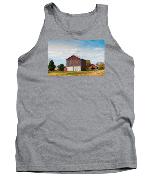 Tank Top featuring the photograph Three In One Barns by Debbie Green