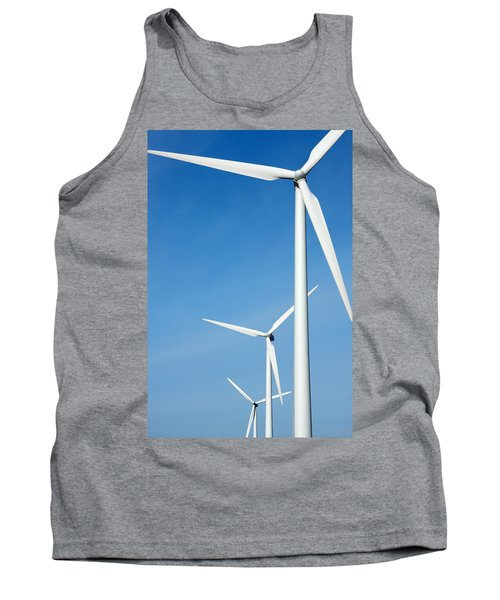 Three Mighty Windmills In A Row Against A Blue Sky. Tank Top