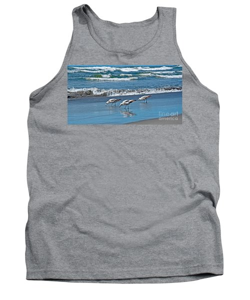 Tank Top featuring the photograph Three Seagulls At Ocean Shore Art Prints by Valerie Garner