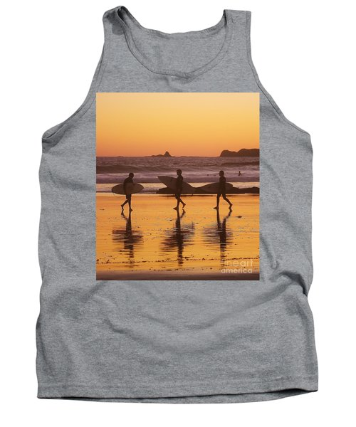 Three Surfers At Sunset Tank Top by Blair Stuart
