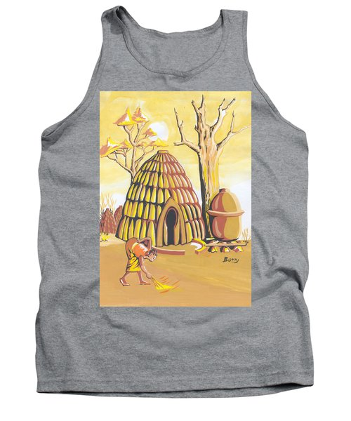 Tank Top featuring the painting Traditional House Massa Northern Cameroon by Emmanuel Baliyanga