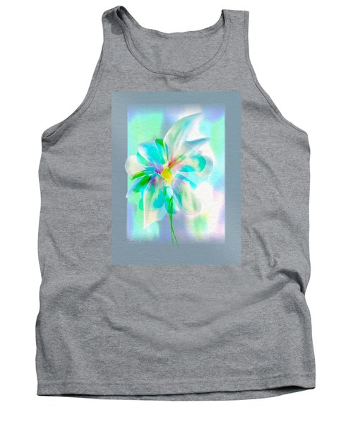 Tank Top featuring the digital art Turquoise Bloom by Frank Bright