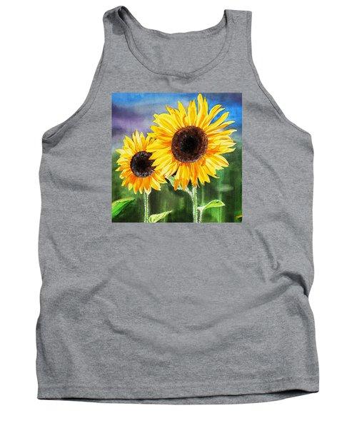 Tank Top featuring the painting Two Sunflowers by Irina Sztukowski