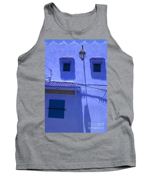 Tank Top featuring the photograph Typical Blue Facade In The Medina Of Asilah On Northwest Tip Of Atlantic Coast Of Morocco by Ralph A  Ledergerber-Photography