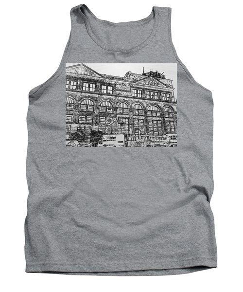 Union Light And Power In Black And White Tank Top