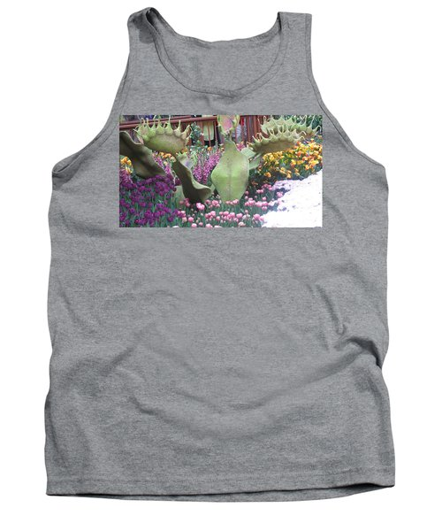 Tank Top featuring the photograph Vegas Butterfly Garden Flowers Cactus Romanti Interior Decorations by Navin Joshi