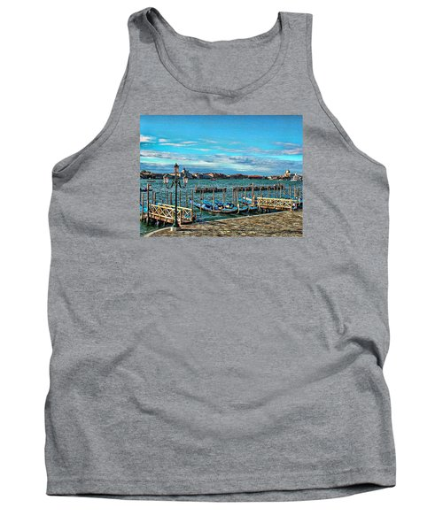 Tank Top featuring the photograph Venice Gondolas On The Grand Canal by Kathy Churchman