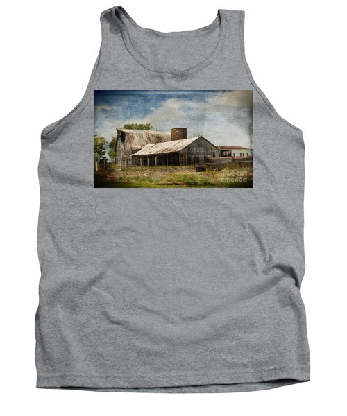 Barn -vintage Barn With Brick Silo - Luther Fine Art Tank Top