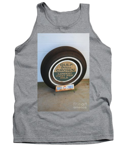 Tank Top featuring the photograph Vintage Gulf Tire With Ad Plate by Lesa Fine