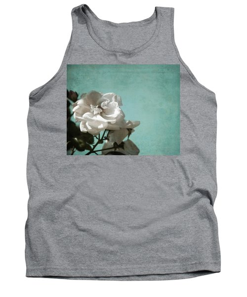 Tank Top featuring the photograph Vintage Inspired White Roses On Aqua Blue Green - by Brooke T Ryan
