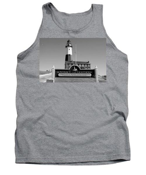 Vintage Looking Montauk Lighthouse Tank Top by John Telfer
