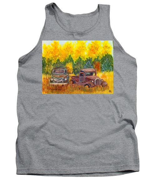 Tank Top featuring the painting Vintage Trucks by Belinda Lawson