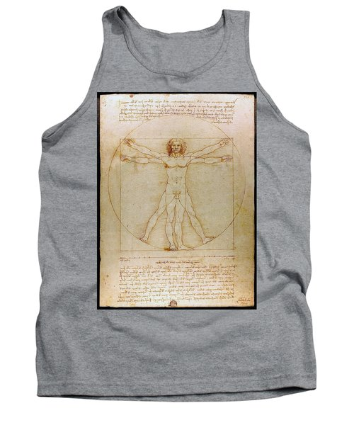 Tank Top featuring the drawing Vitruvian Man By Leonardo Da Vinci  by Karon Melillo DeVega