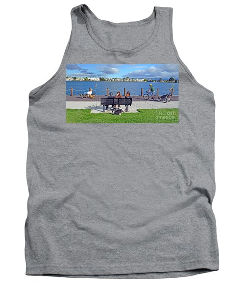 Watching The Bikes Go By At Congressman Leo Ryan's Memorial Park Tank Top by Jim Fitzpatrick
